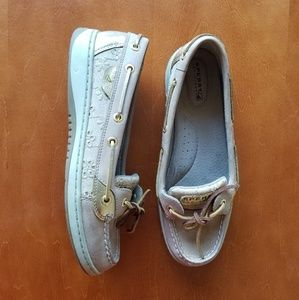 Sperry Top-Sider Gold Embroidered Flower Boat Shoe